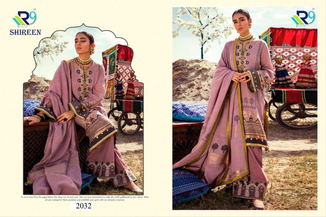 R9 Shireen Designer Satin Cotton Printed Suits Wholesale
