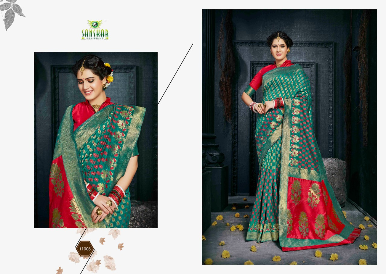 Sanskar Tex Radhika Designer Banaras Silk Wedding Wear Sarees Wholesale