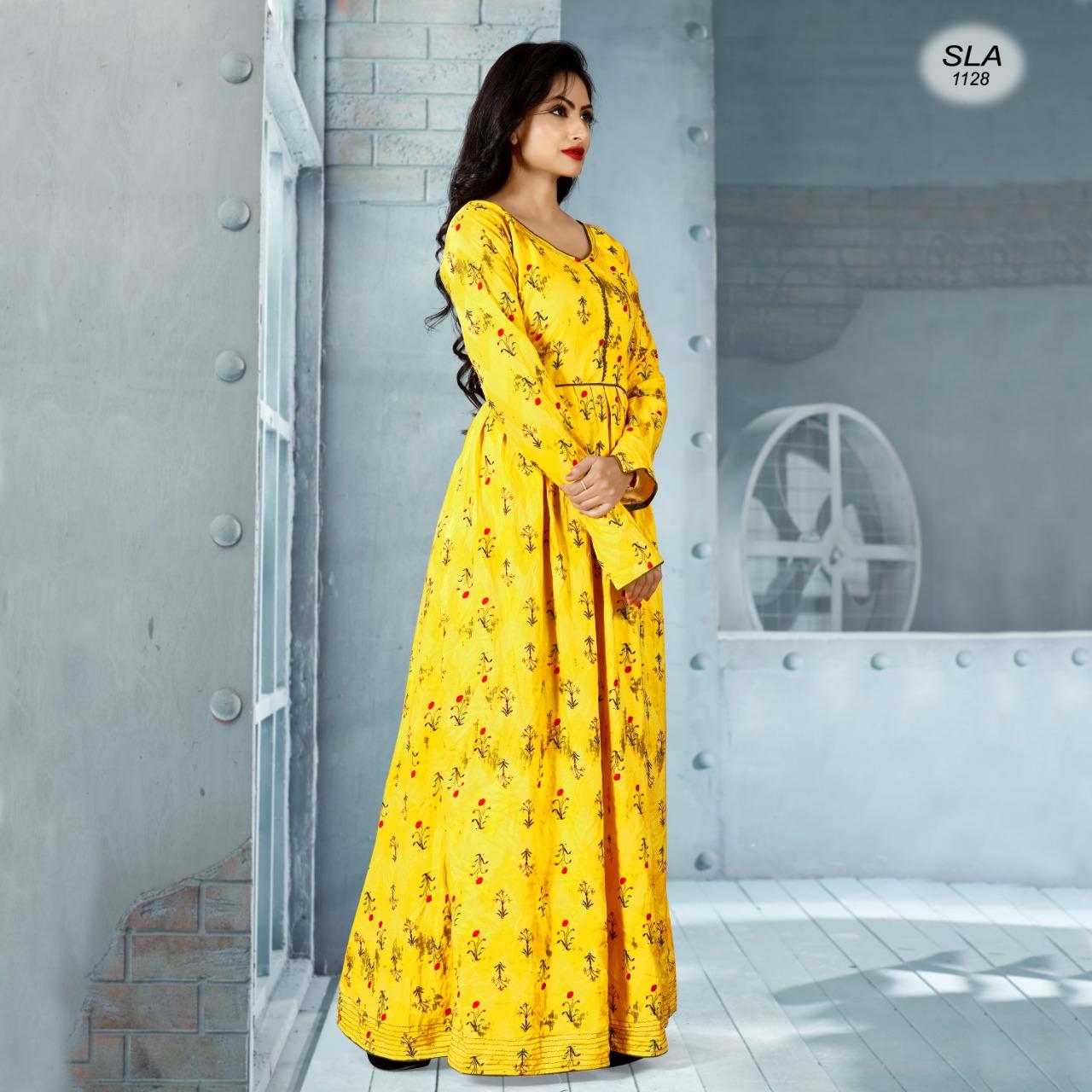 Designer Rayon Flower Print Gown Pettern Kurtis Best Wholesale Rate