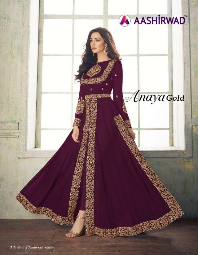 Aashirwad Anaya Gold Designer Real Georgette Suits Wholesale