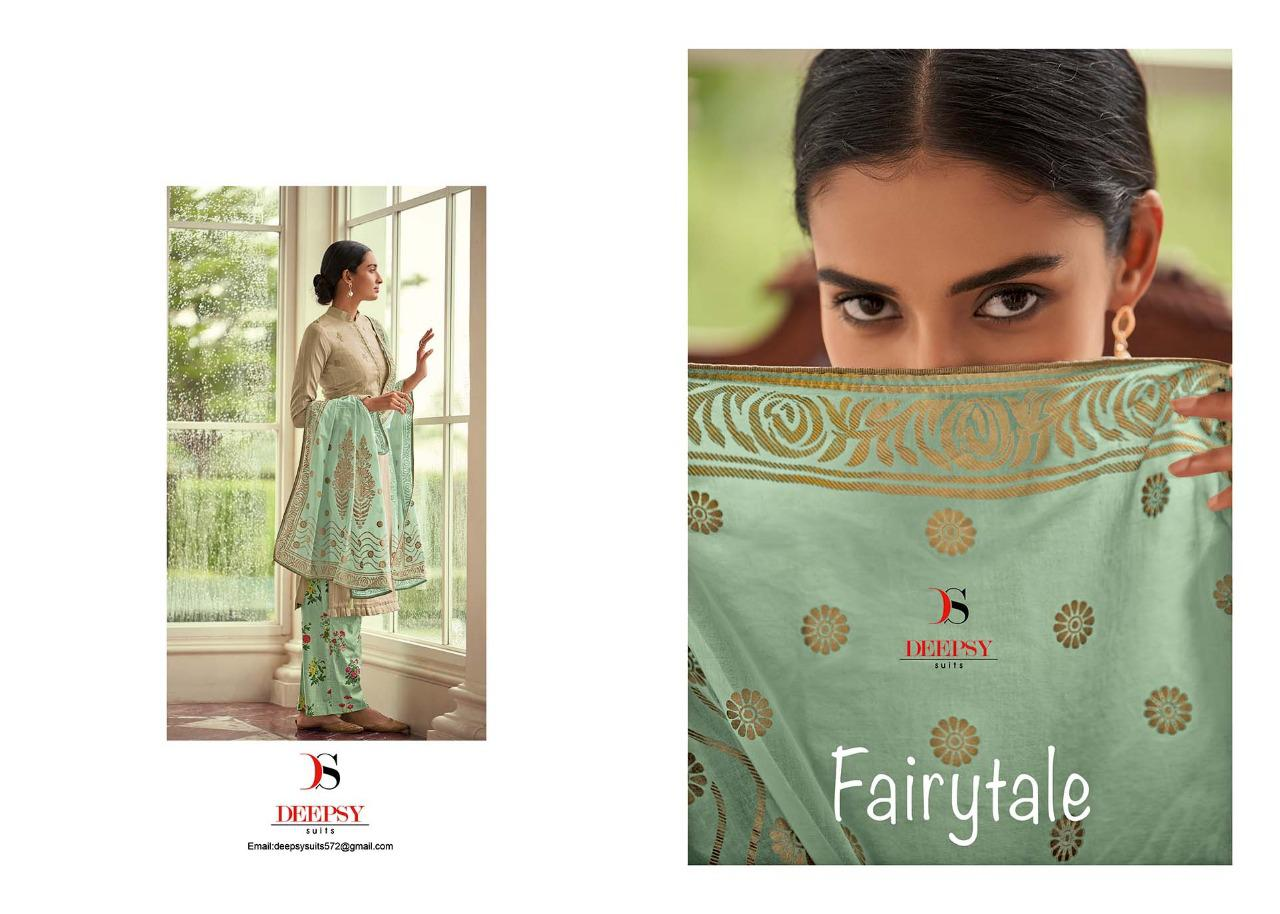 Deepsy Fairy Tail Designer Cotton Printed With Self Embroidery Suits Wholesale