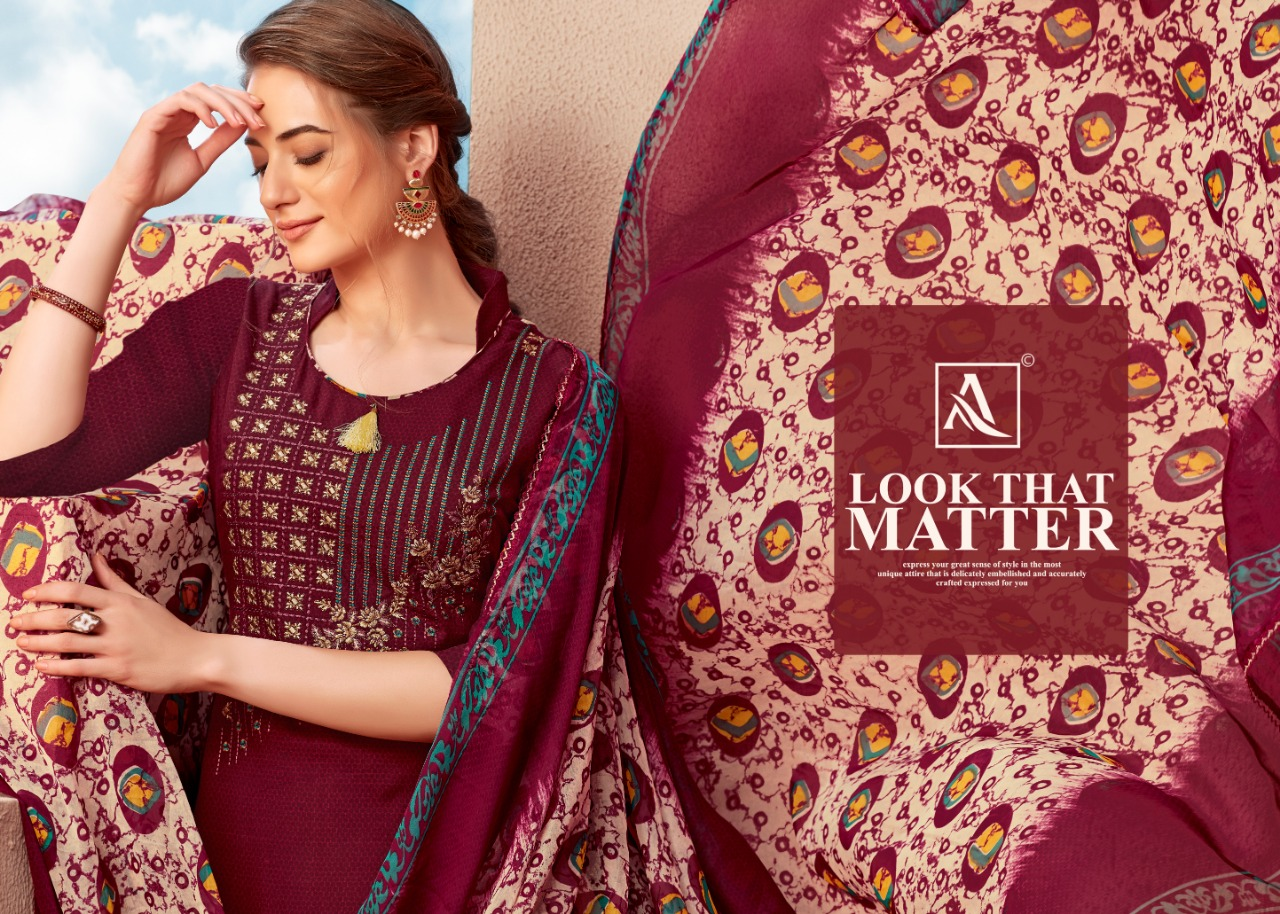 Alok Suit Amber Designer Rayon Suits With Embroidery Wholesale