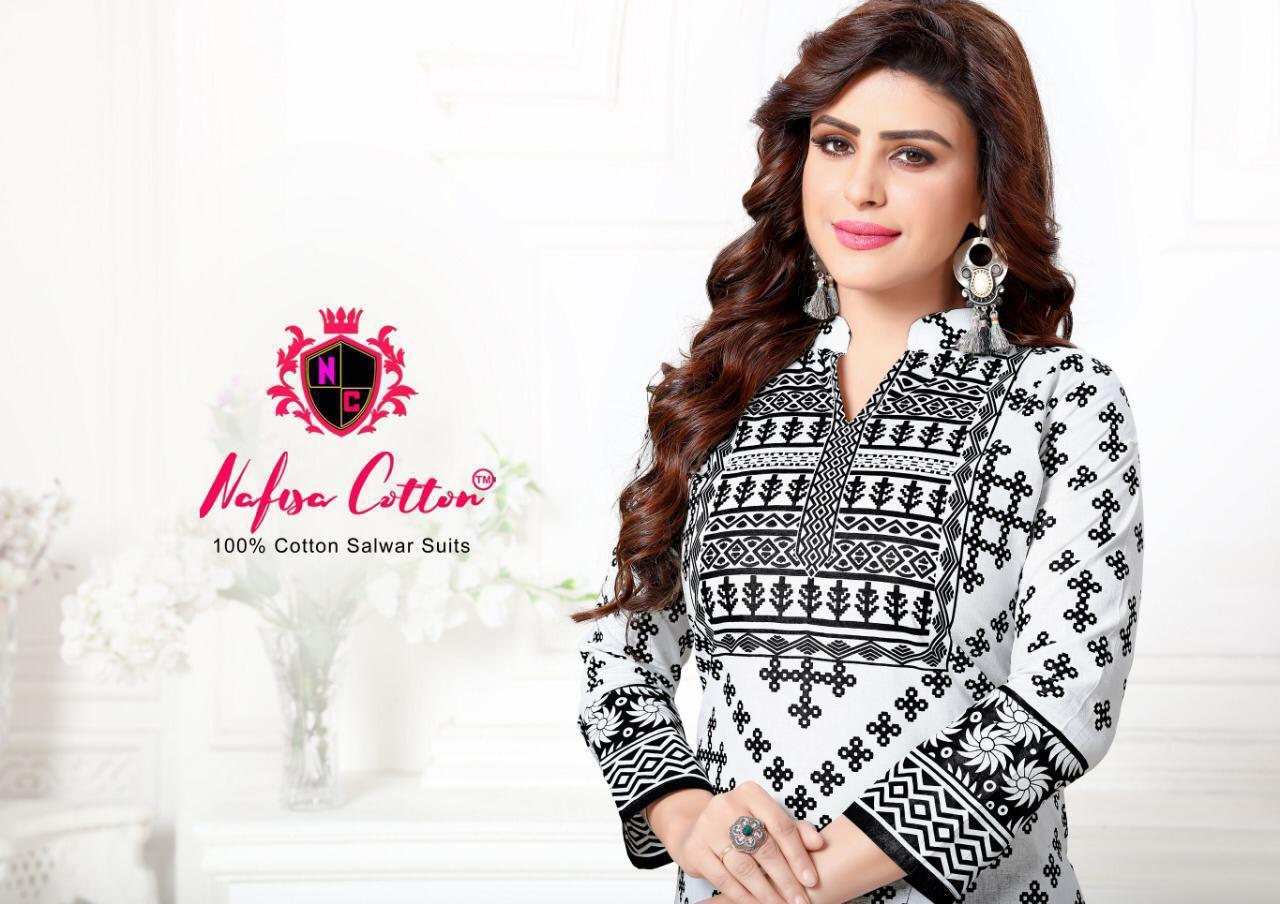 Nafisa Cotton Black And White Karachi Queen Vol 3 Designer Black And White Suits Wholesale
