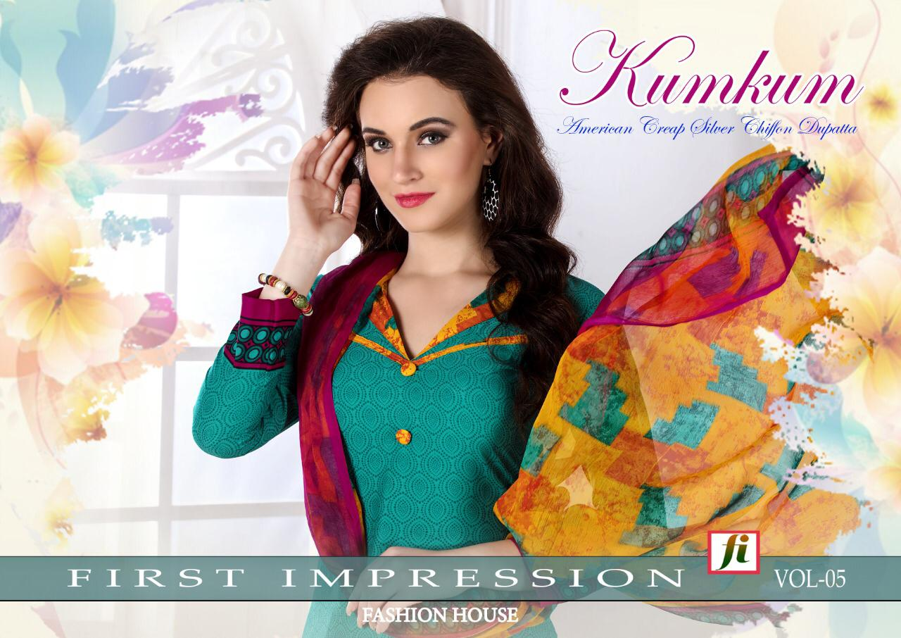 Kum Kum Vol 5 Designer American Crepe Dress In Best Wholesale Rate