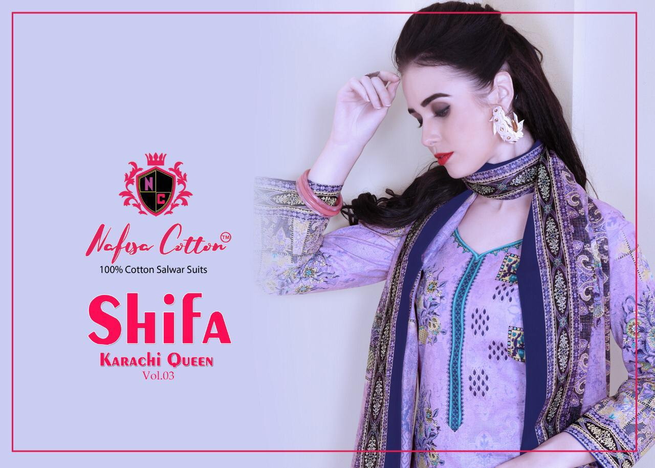 Nafisha Cotton Shifa Karachi Qween Vol 3 Designer Cotton Printed Suits Best Wholesale Rate