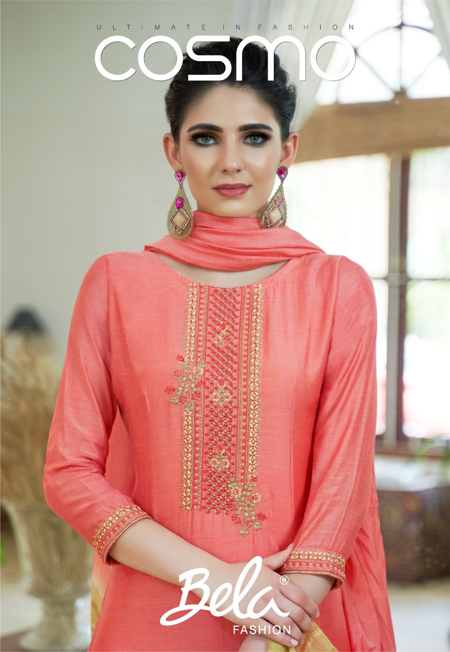 Bela Cosmo Designer Cotton Silk & Embroidery Work Suits Wholesale