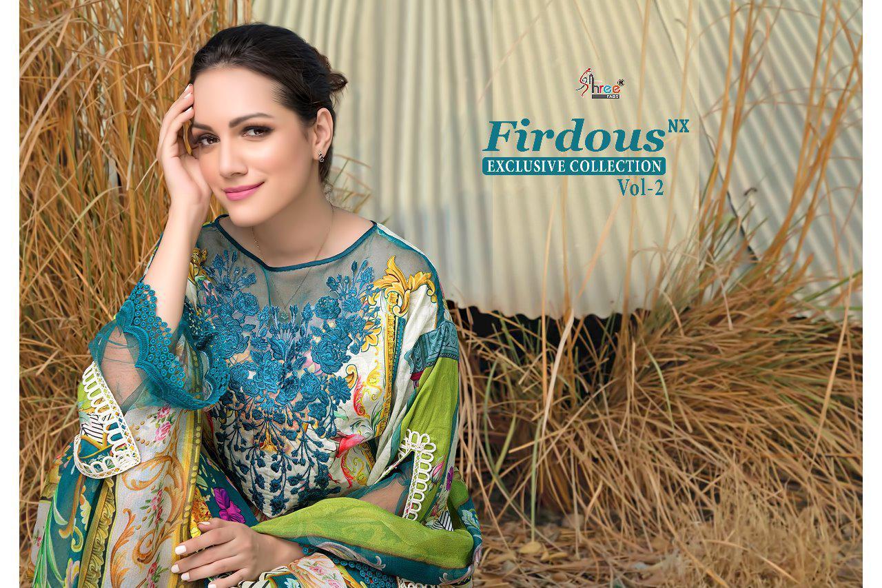 Shree Fab Firdosh Vol 2 Nx Designer Pure Cotton Print & Heavy Embroidery Suits Wholesale