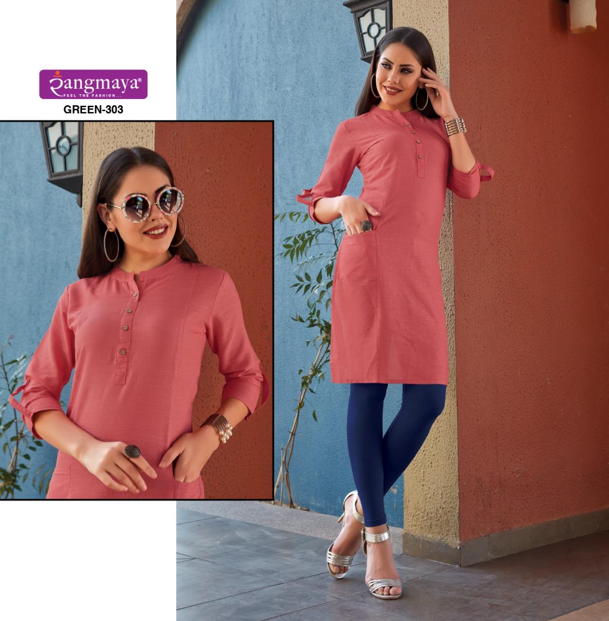 Rangmaya Green 3 Designer Cotton Slub Kurties In Wholesale Rate