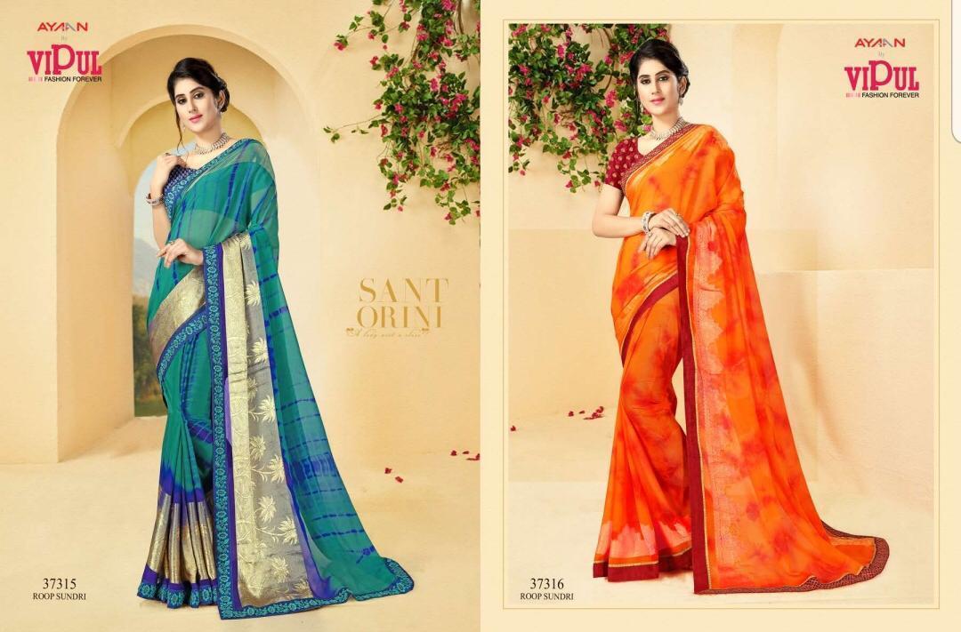 Vipul Shibbori Blossom Designer Wedding Wear Sarees In Wholesale Rate