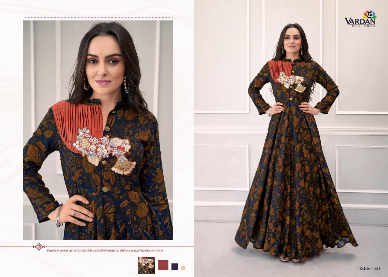 Vardan Designer Navya Vol 13 Desiger Gown Suits Wholesale