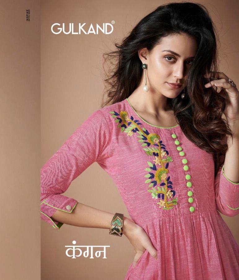 Gulkand Designer Kangan Designer Office Wear Kurties Wholesale
