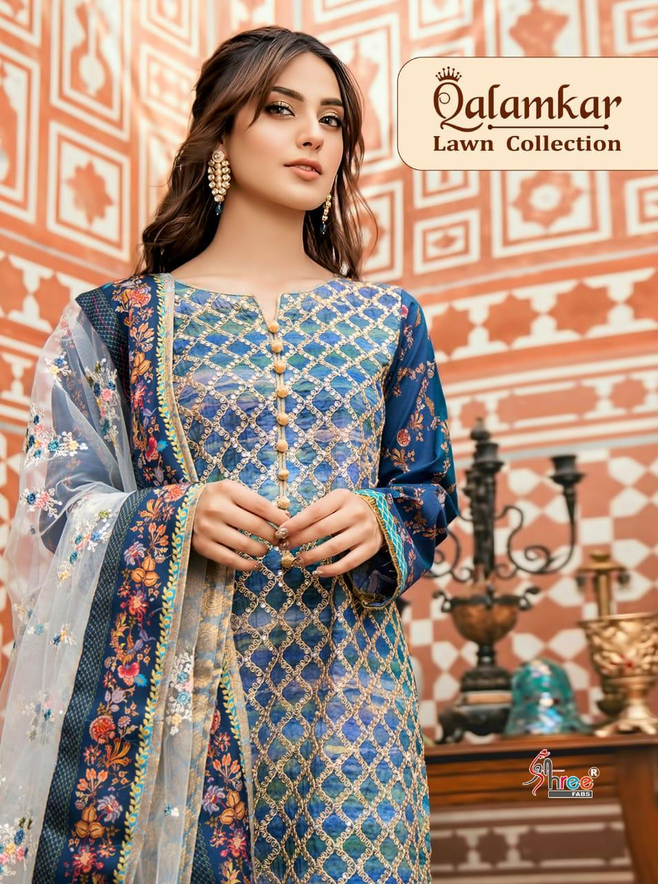 Shree Fabs Qalamkar Lawn Collection Designer Cambric Cotton Suits In Best Wholesale Rate
