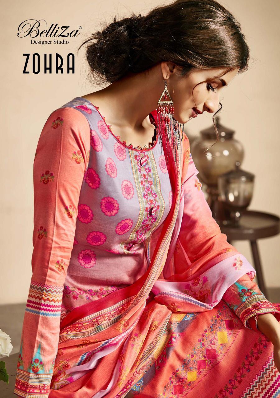 Belliza Designer Studio Zohra Designer Premium Cotton Digital Print Suits Wholesale Surat