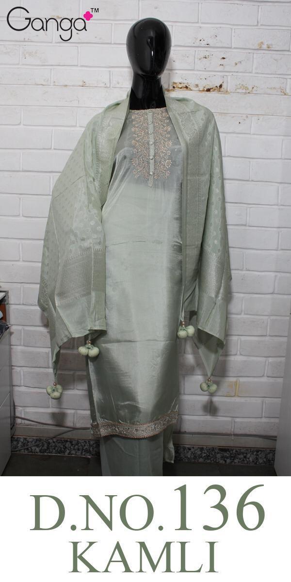Ganga Kamli 136 Designer Embroidery & Silk Suits In Best Wholesale Rate