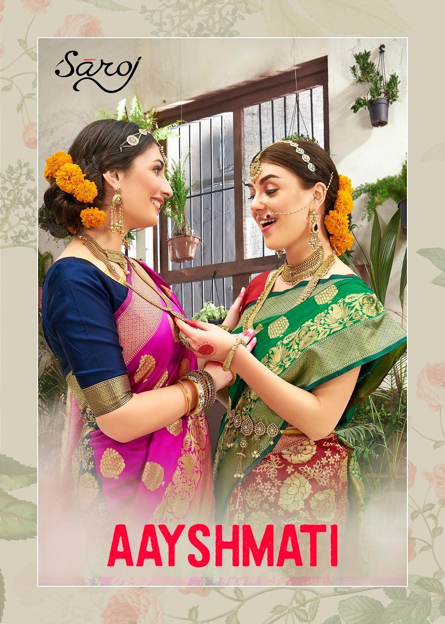 Saroj Saree Aayshmati Designer Banarasi Silk Wedding Wear Sarees Wholesale