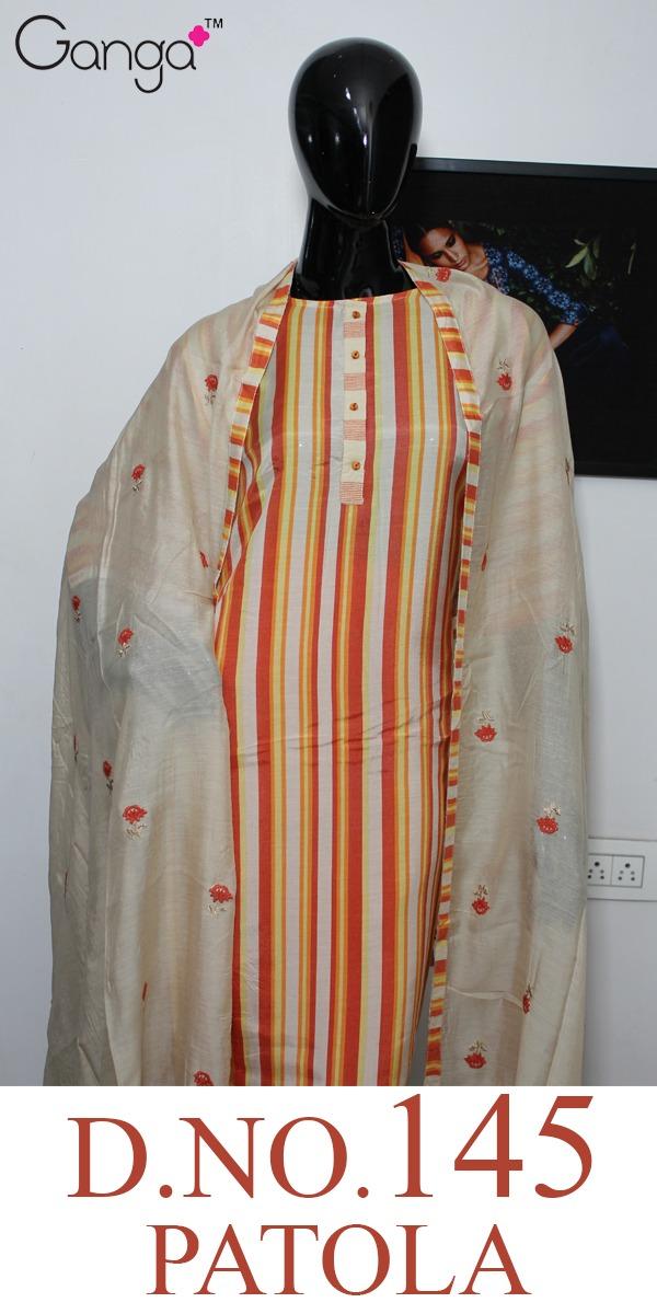 Ganga Patola 145 Designer Muslin Silk Printed Suits Wholesale