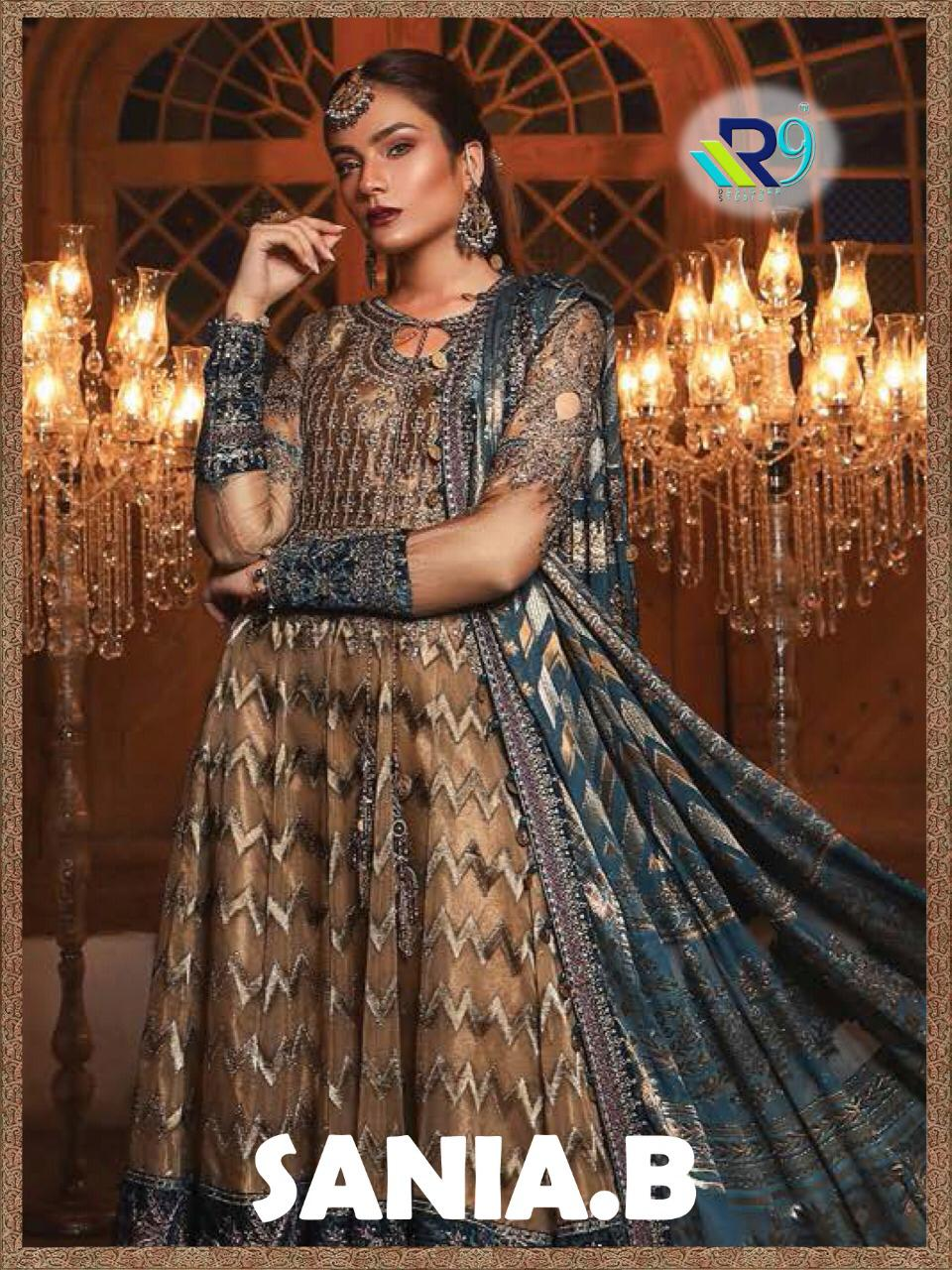 R9 Sania B Designer Heavy Embroidered Suits Wholesale