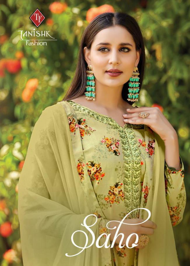 Tanishk Fashion Saho Designer Jam Silk Satin Printed Suits Best Wholesale Rate