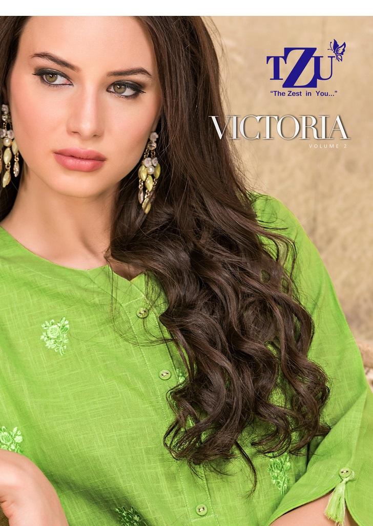 Tzu Lifestyle Victoria Vol 2 Designer Cotton Stitch Office Wear Kurties Wholesale