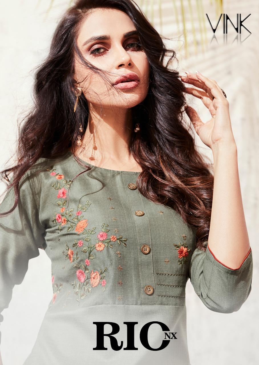 Vink Rio Nx Designer Premium Linen Cotton Stitch Kurties Wholesale
