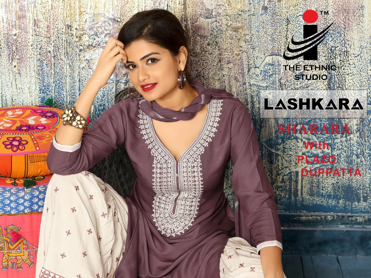 The Ethnic Studio Lashkara Designer Heavy Rayon Stitch Sharara  Wholesale