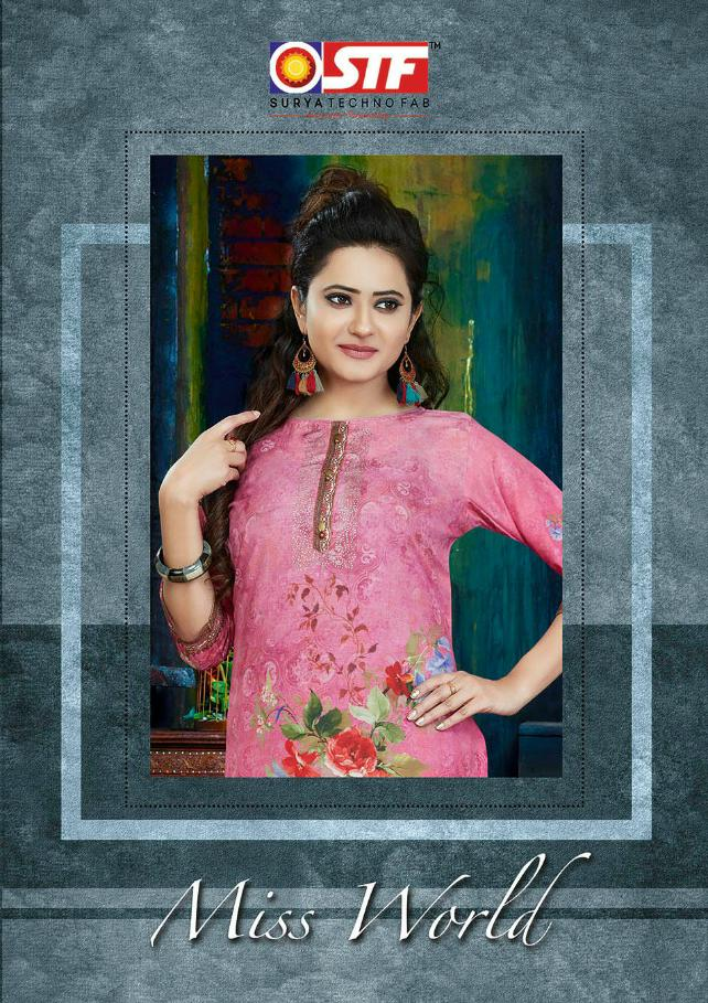 Stf Miss World Designer Muslin Printed Suits Wholesale