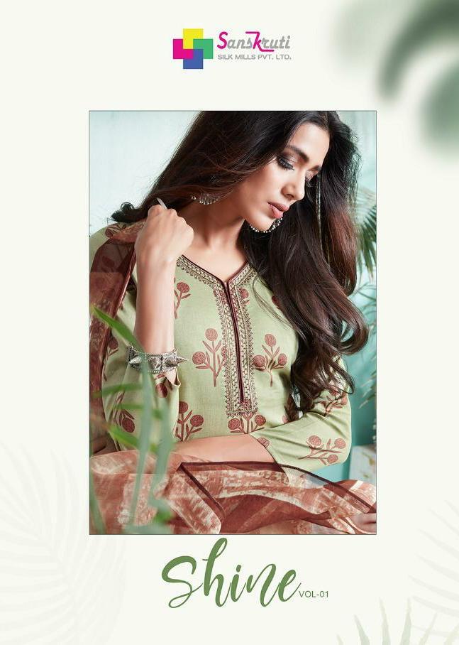Sanskruti Silk Mills Shine 1 Designer Embroidery Suits Best Wholesale Rate