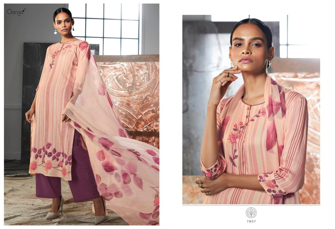 Ganga Lueur Designer Natural Satin Printed & Embroidered Suits Wholesale Surat