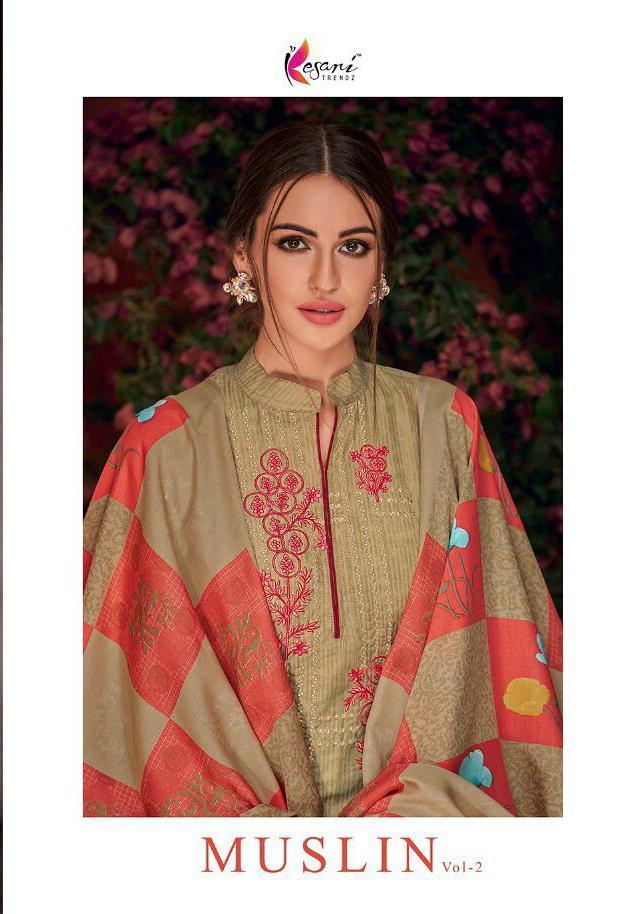 Kesari Trendz Muslin Vol 2 Designer Muslin Silk Self Embroidered Suits Wholesale