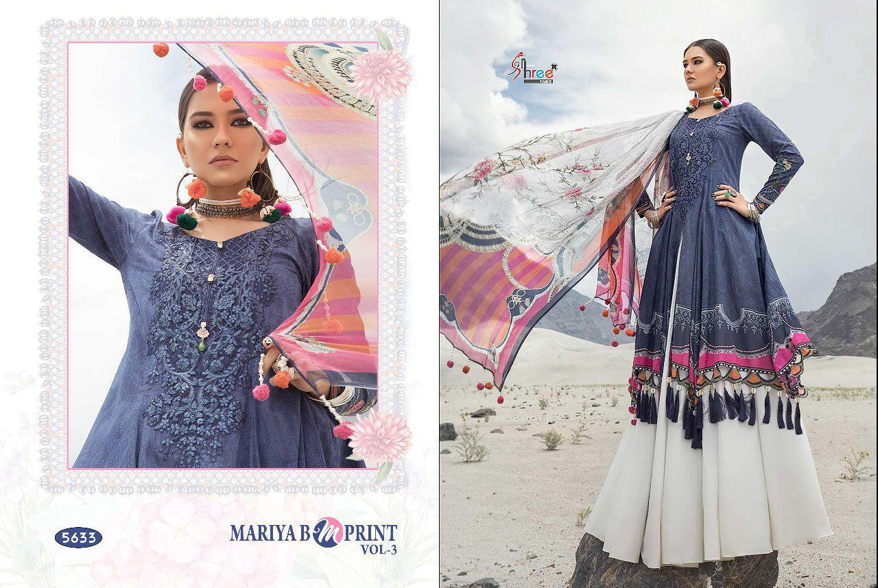 Shree Fab Mariya B Mprint Vol 3 Designer Embroidered With Cotton Printed Suits In Best Wholesale Rate