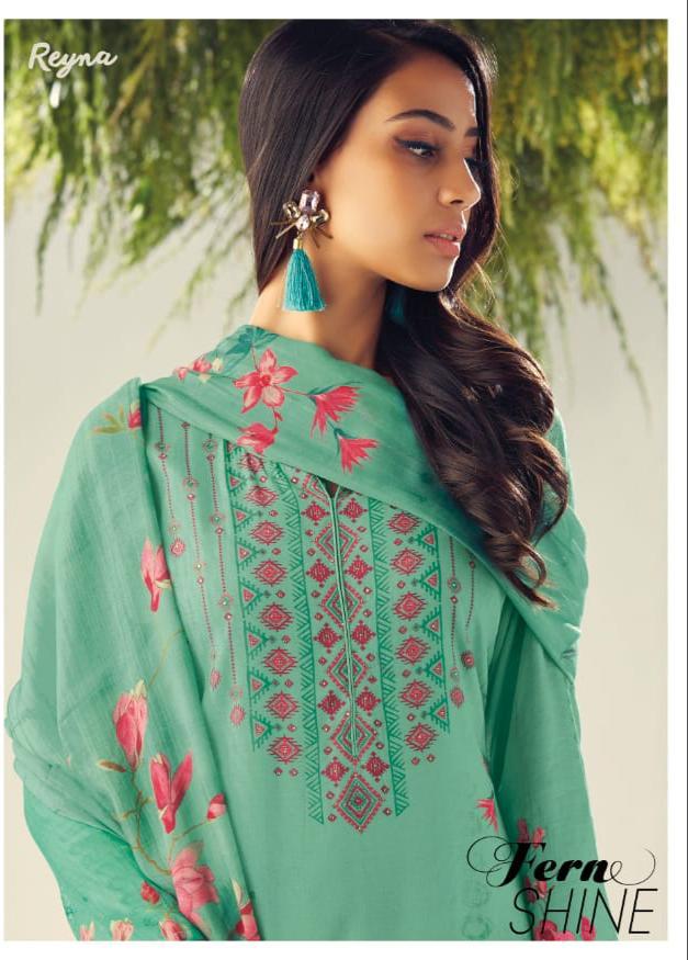 Reyna Fern Shine Designer Cotton Silk Printed & Hand Work Suits Wholesale