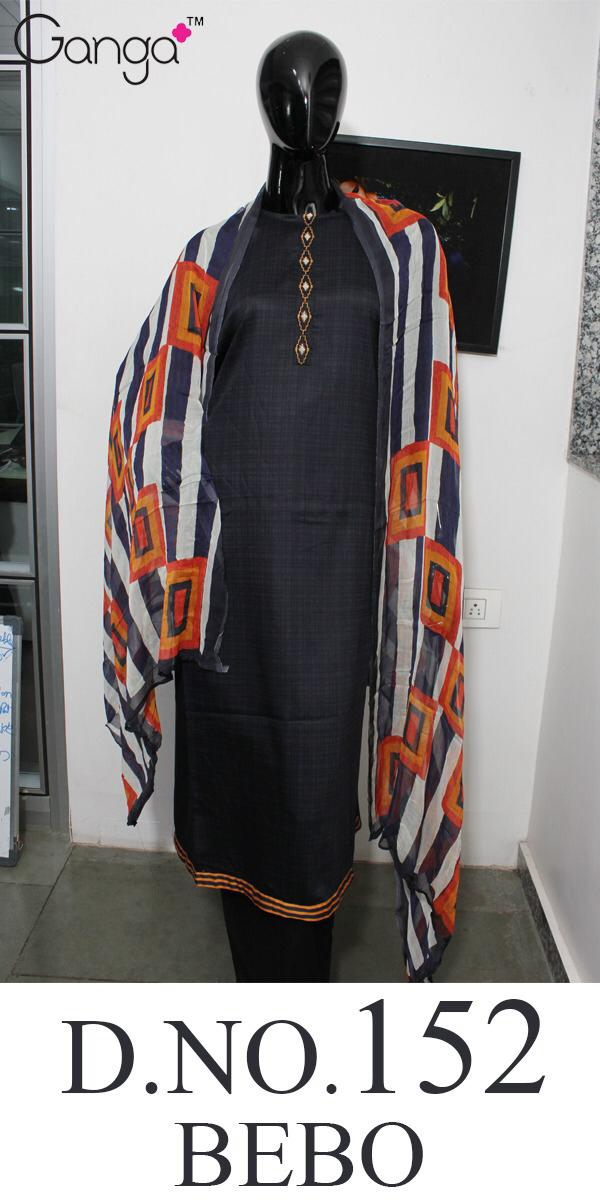 Ganga Bebo 152 Designer Silky Satin Printed & Embroidered Suits Wholesale