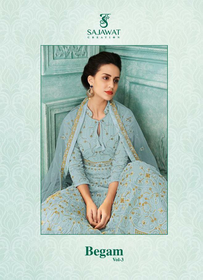 Sajawat Creation Begam Vol 3 Designer Heavy Faux Georgette Party Wear Suits Wholesale