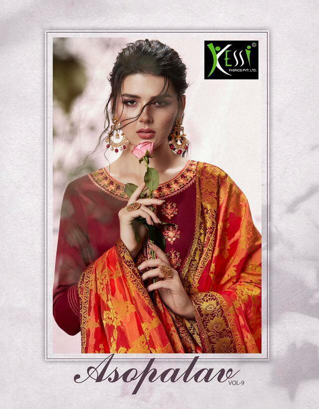 Kessi Asopalav Vol 9 Designer Jam Silk Cotton Heavy Suit Wholesale