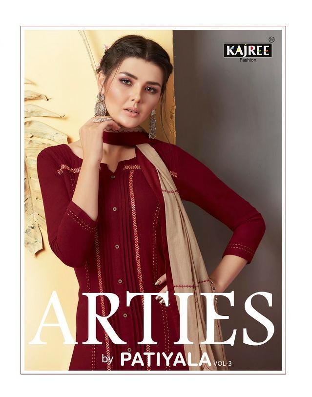 Kajree Arties By Patiyala Vol 3 Designer Rayon Stitch Patiyala Suits Wholesale