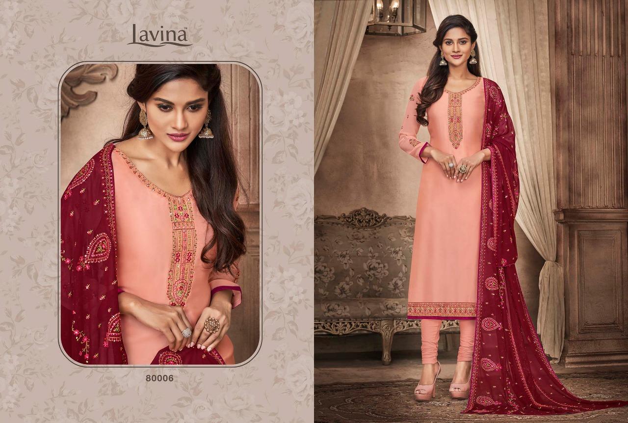 Lavina Vol 80 Designer Embroidery & Satin Georgette Suits Wholesale