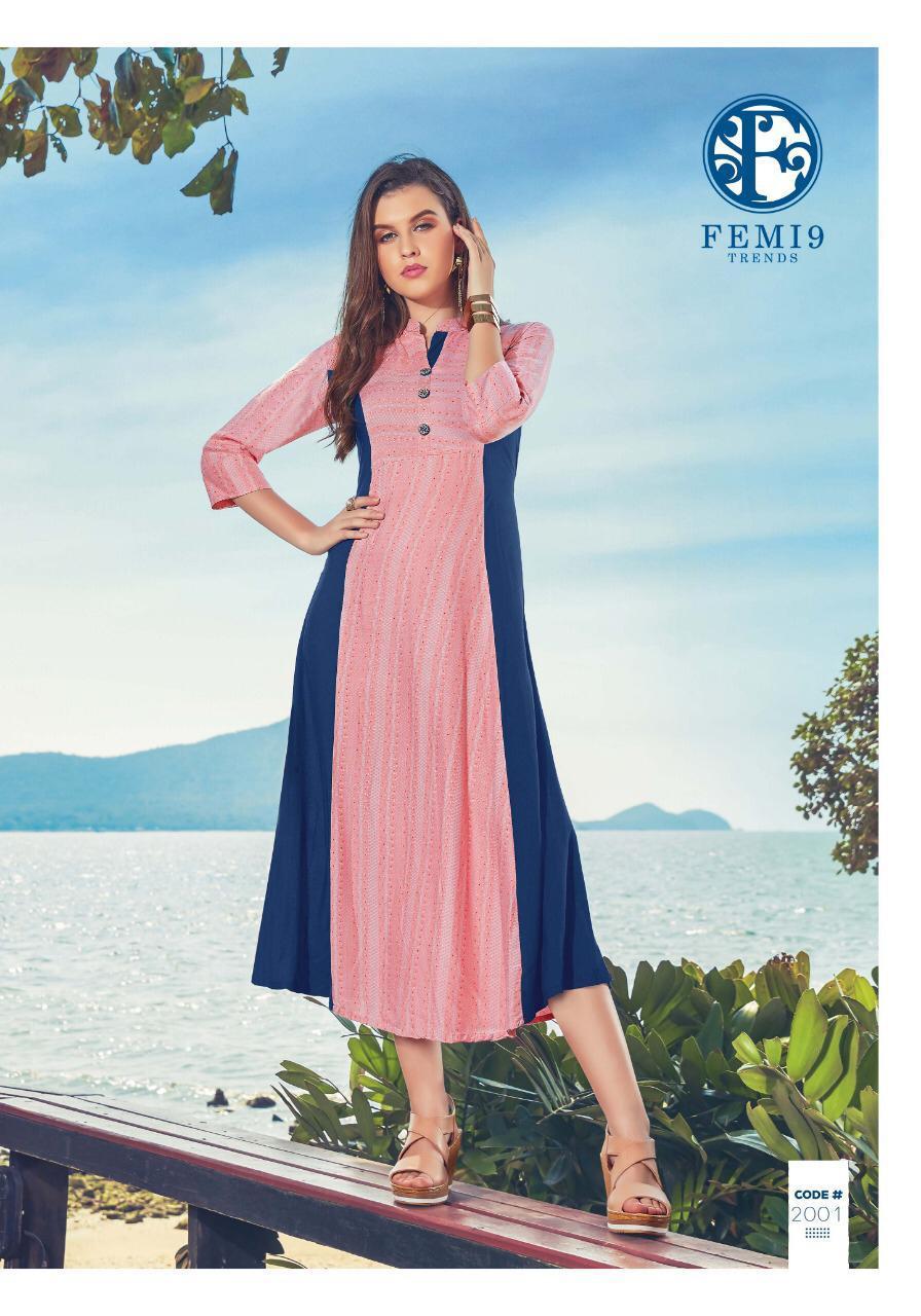 Femi 9 Trends Fizzah Vol 2 Designer Stylish Kurties Wholesale