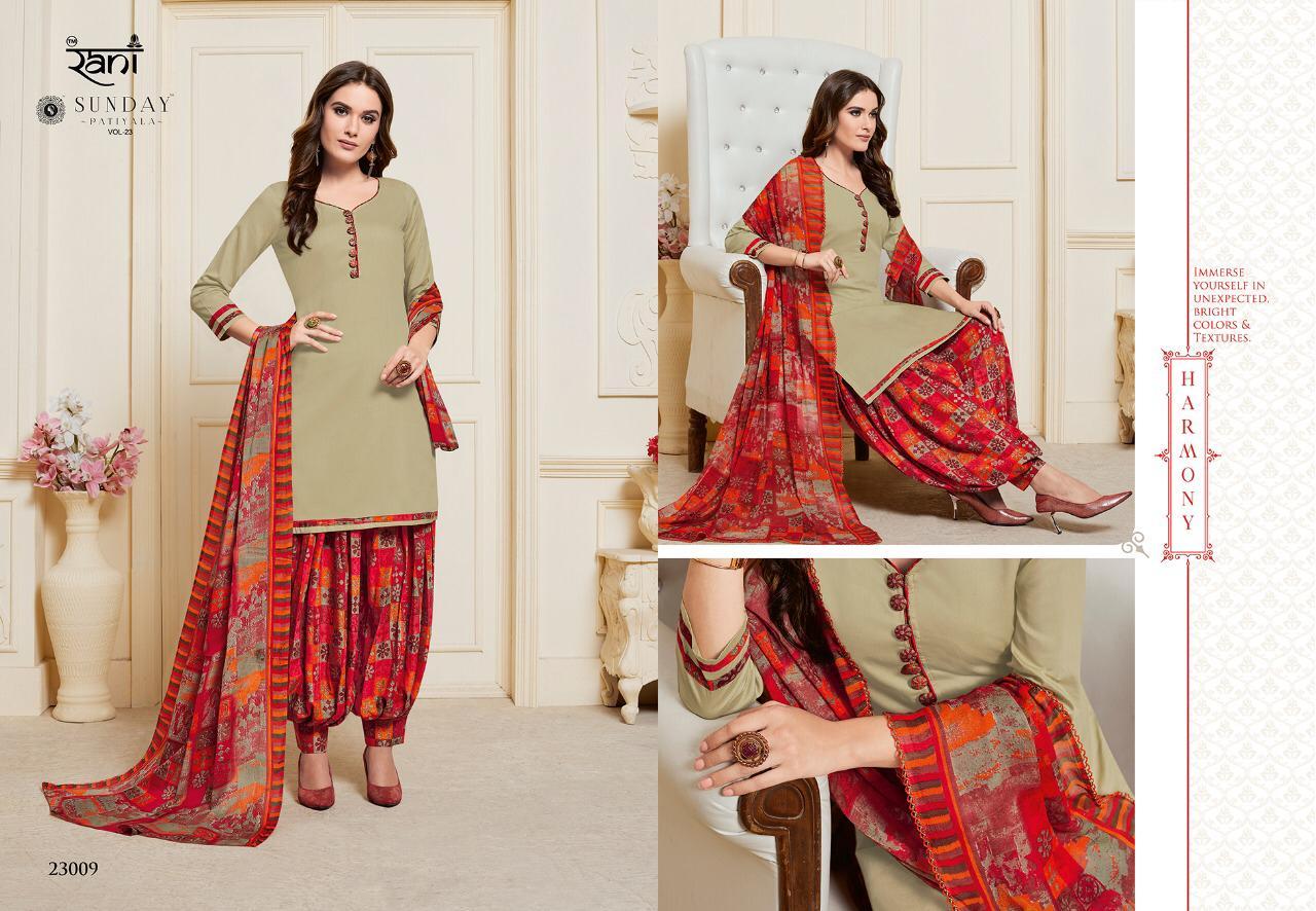 Rani Sunday Patiyala Readymade Vol 23 Designer Patiyala Suits In Best Wholesale Rate