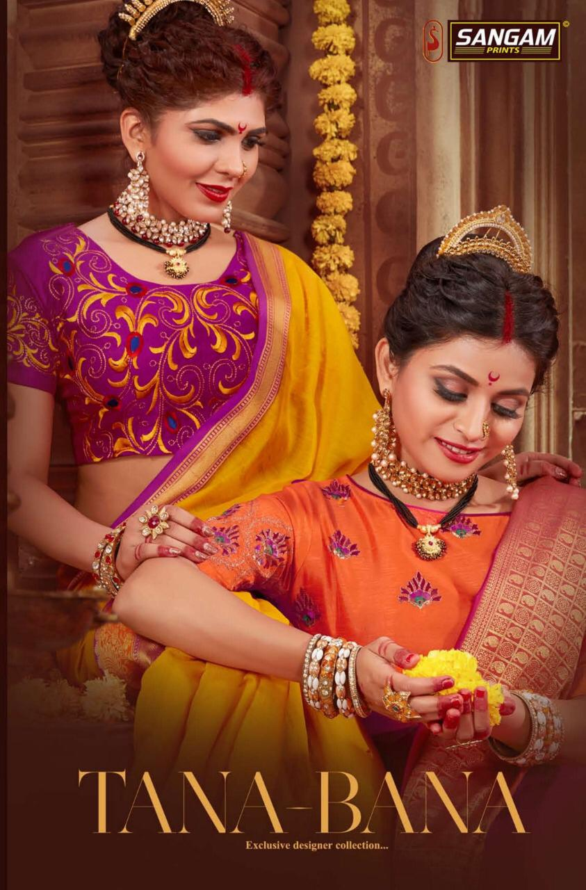 Sangam Tana Bana Designer Silk Wedding Wear Sarees Wholesale