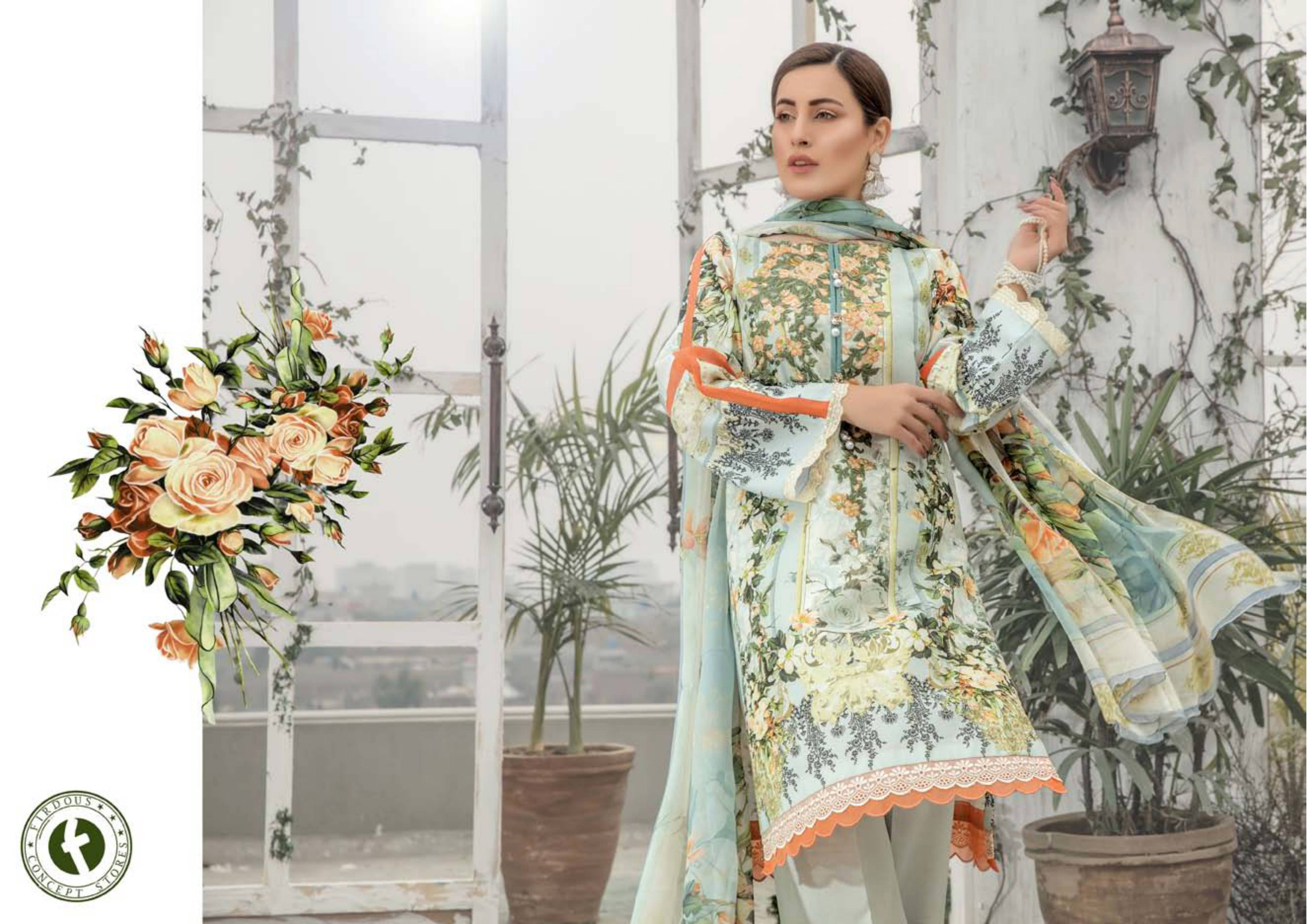 Firdous Karandi Premium Lawn Embroidery Collection Aaa+ Master Replica Pakistani Pattern Suits Best Wholesale Rate