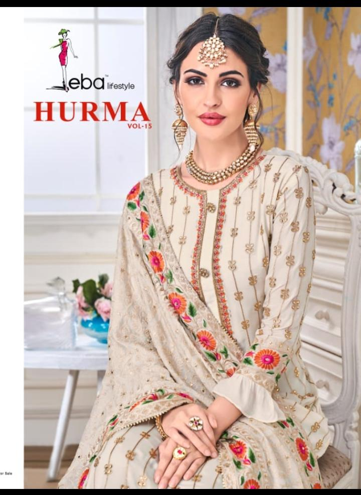 Eba Hurma Vol 15 Faux Georgette With Embrodery Suits Best Wholesale Rate