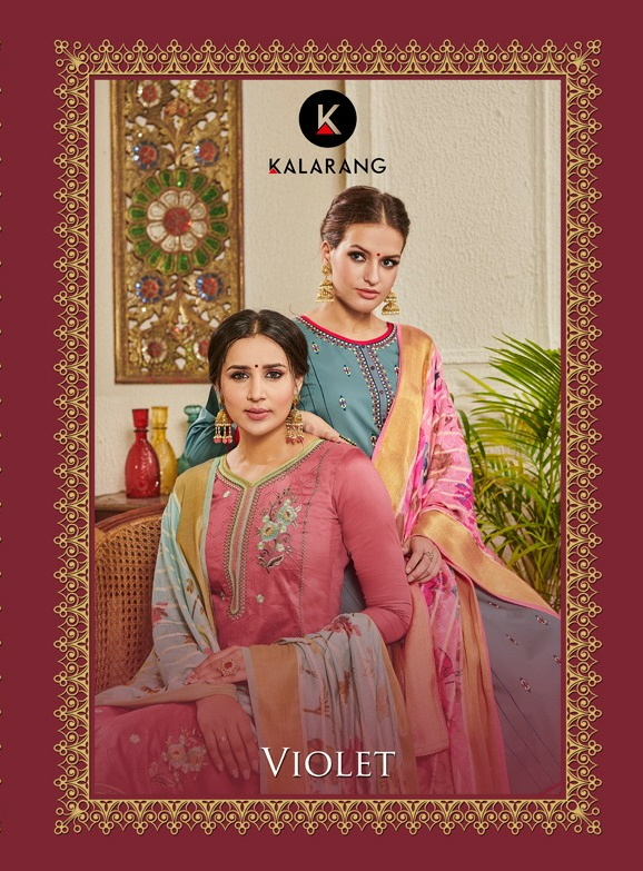 Kalarang Violet Designer Jam Silk Embroidery Suits In Best Wholesale