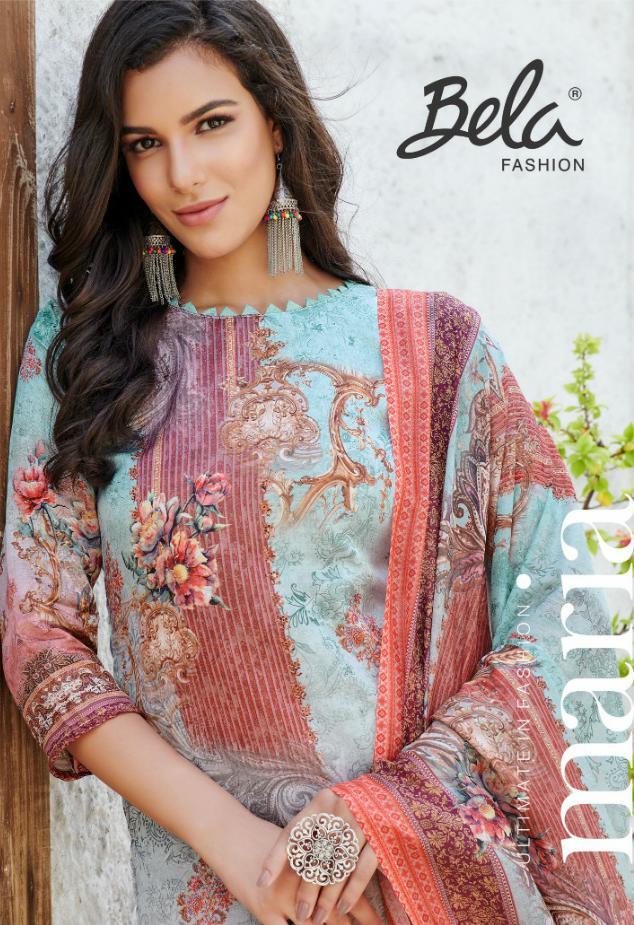 Bela Fashion Maria Designer Gold Touch Satin Printed Suits Wholesale