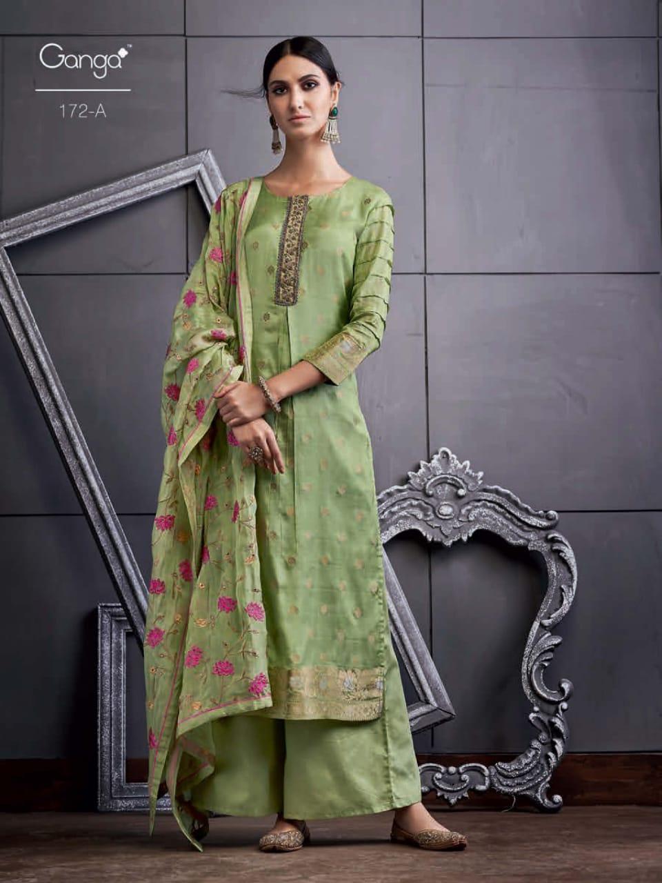 Ganga 172 Series Designer Banarasi Jacquard Suits In Best Wholesale Rate