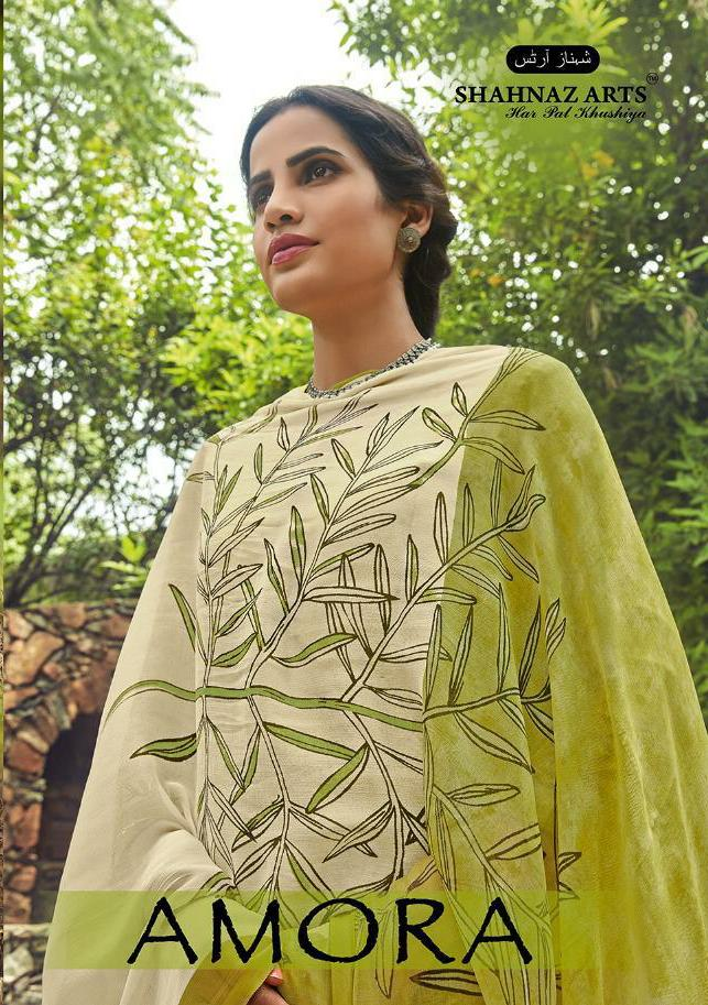 Shahnaz Arts Amora Designer Embroidered With Glace Cotton Suits Wholesale