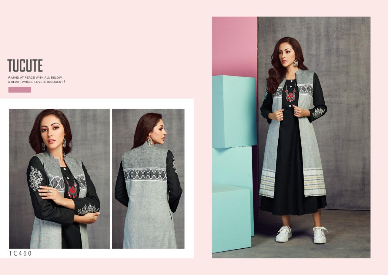 Karma Trendz Tucute Designer Embroidered Cotton Kurtis Wholesale