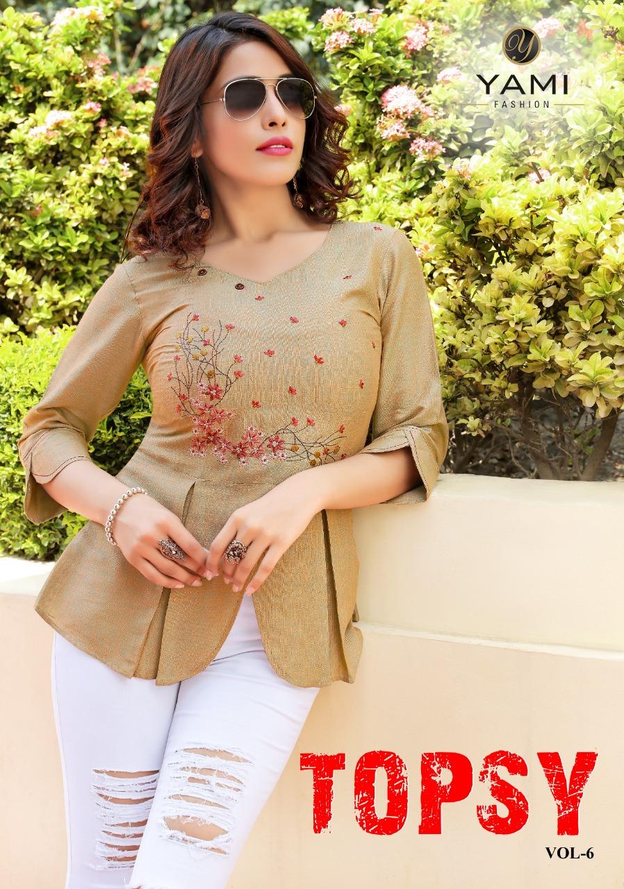 Yami Fashion Topsy Vol 6 Designer Embroidered With Rayon Stitch Stylish Tops Wholesale