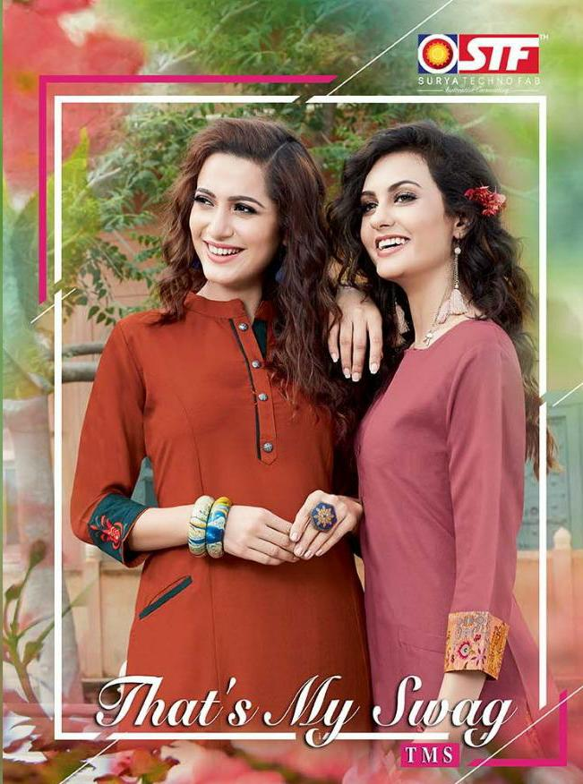 Stf That's My Swag Designer Rayon Stitch Kurties With Printed Plazzo Wholesale