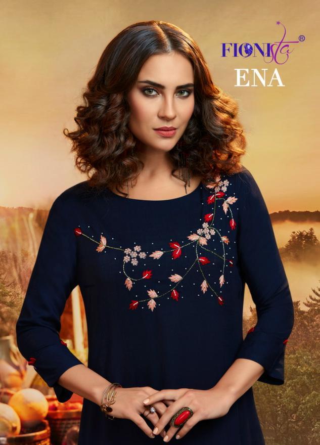 Fionista Ena Designer Cotton Base Fancy Kurties Wholesale