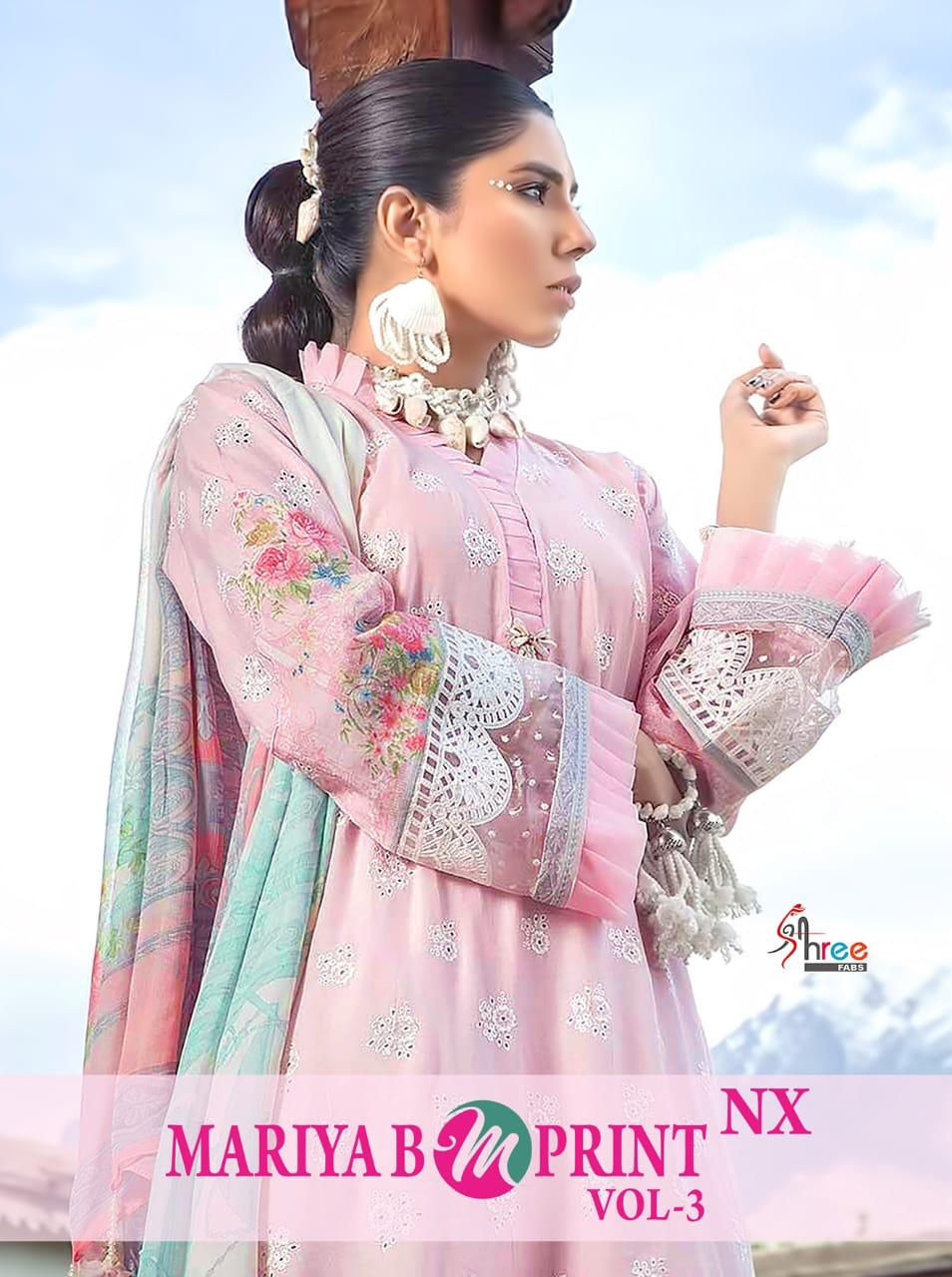Shree Fab Mariya B Mprint Vol 3 Nx Designer Embroidered With Cotton Printed Suits In Wholesale Rate